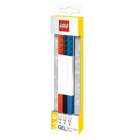 Set of 3 Black, Blue & Red Lego Gel Pens