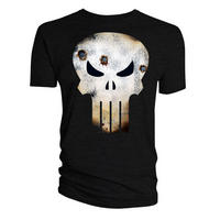 Battle Damaged Punisher Skull T-shirt