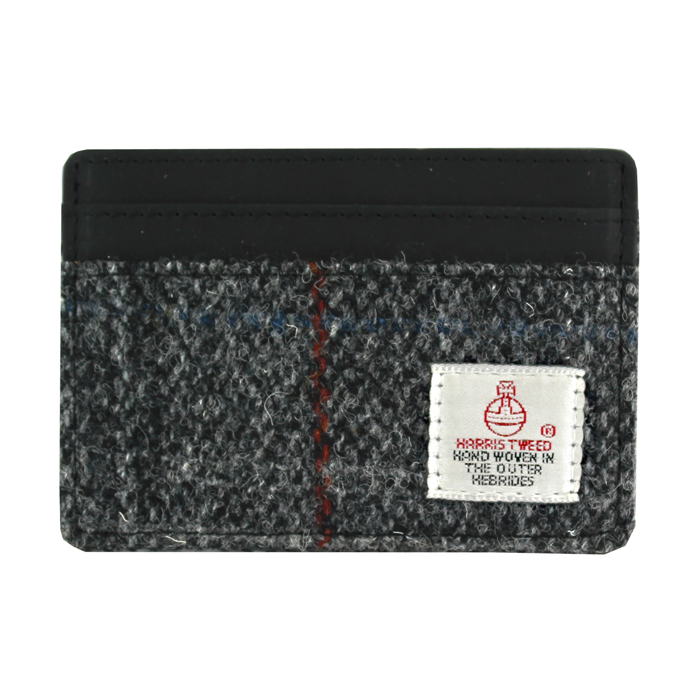Harris Tweed Black & Grey Tartan Card Holder