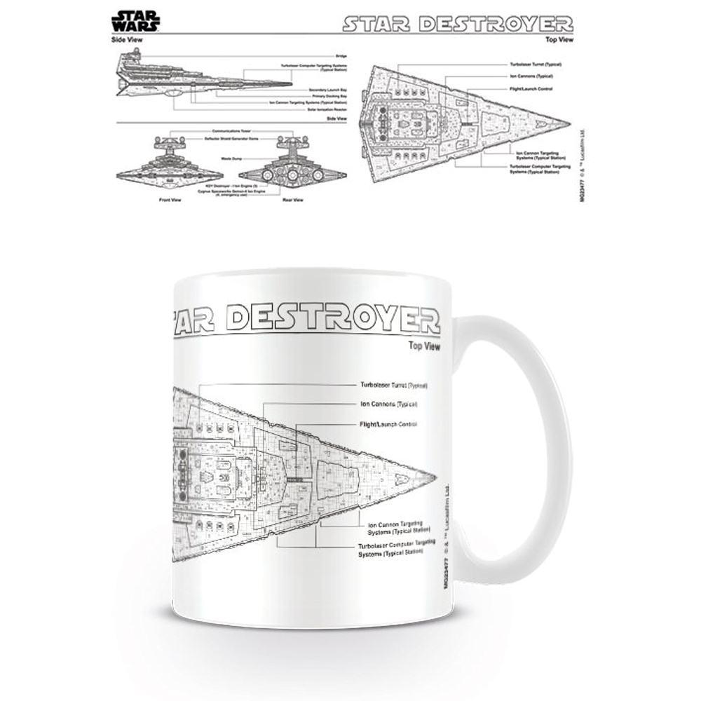 STAR WARS STAR DESTROYER SKETCH MUG CERAMIC COFFEE TEA CUP DIAGRAM Star Schematic on