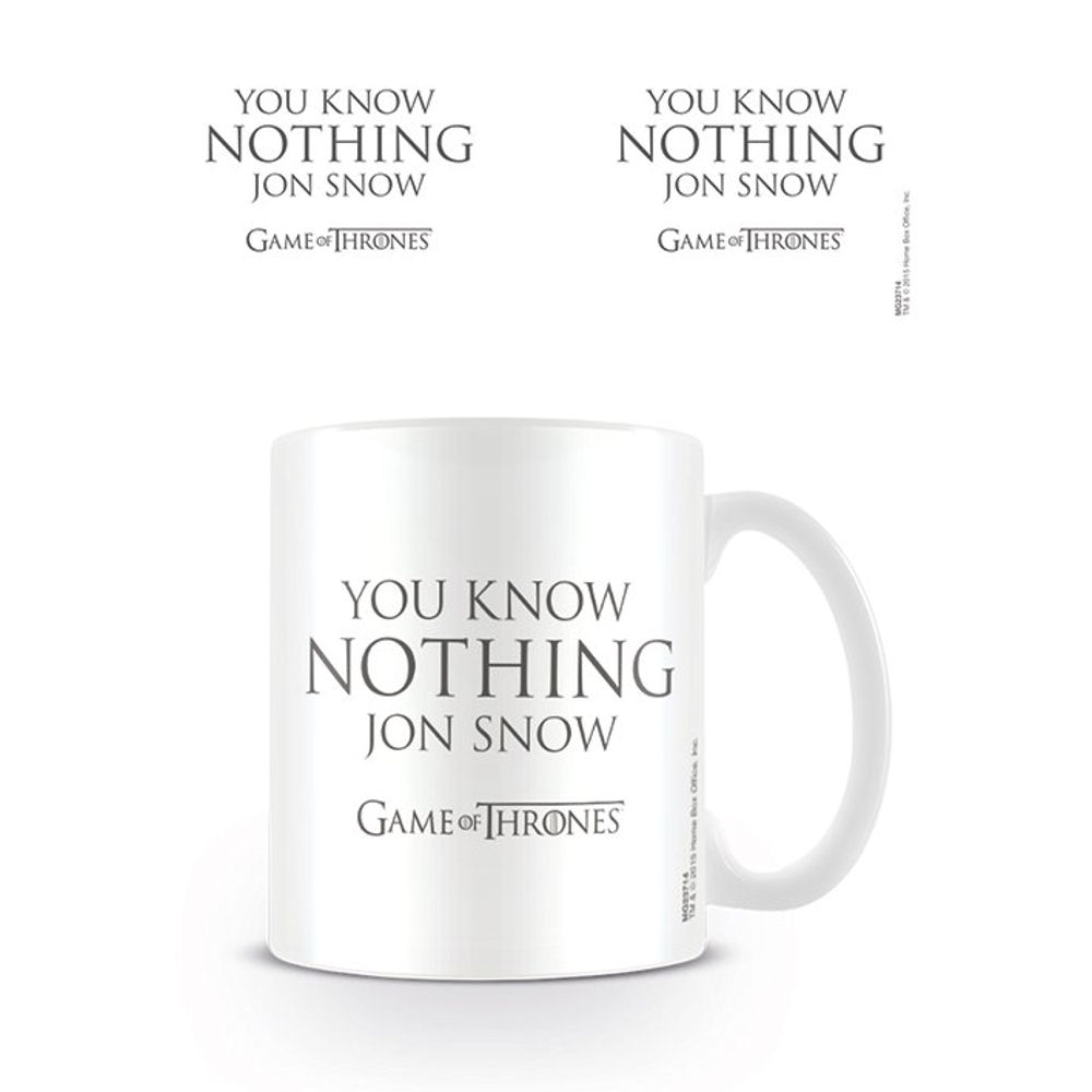 Game Of Thrones You Know Nothing Jon Snow Mug