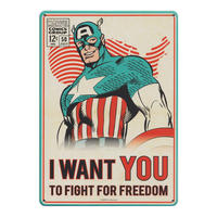 "Captain America ""I Want You To Fight For Freedom"" A5 Steel Sign Thumbnail 1"