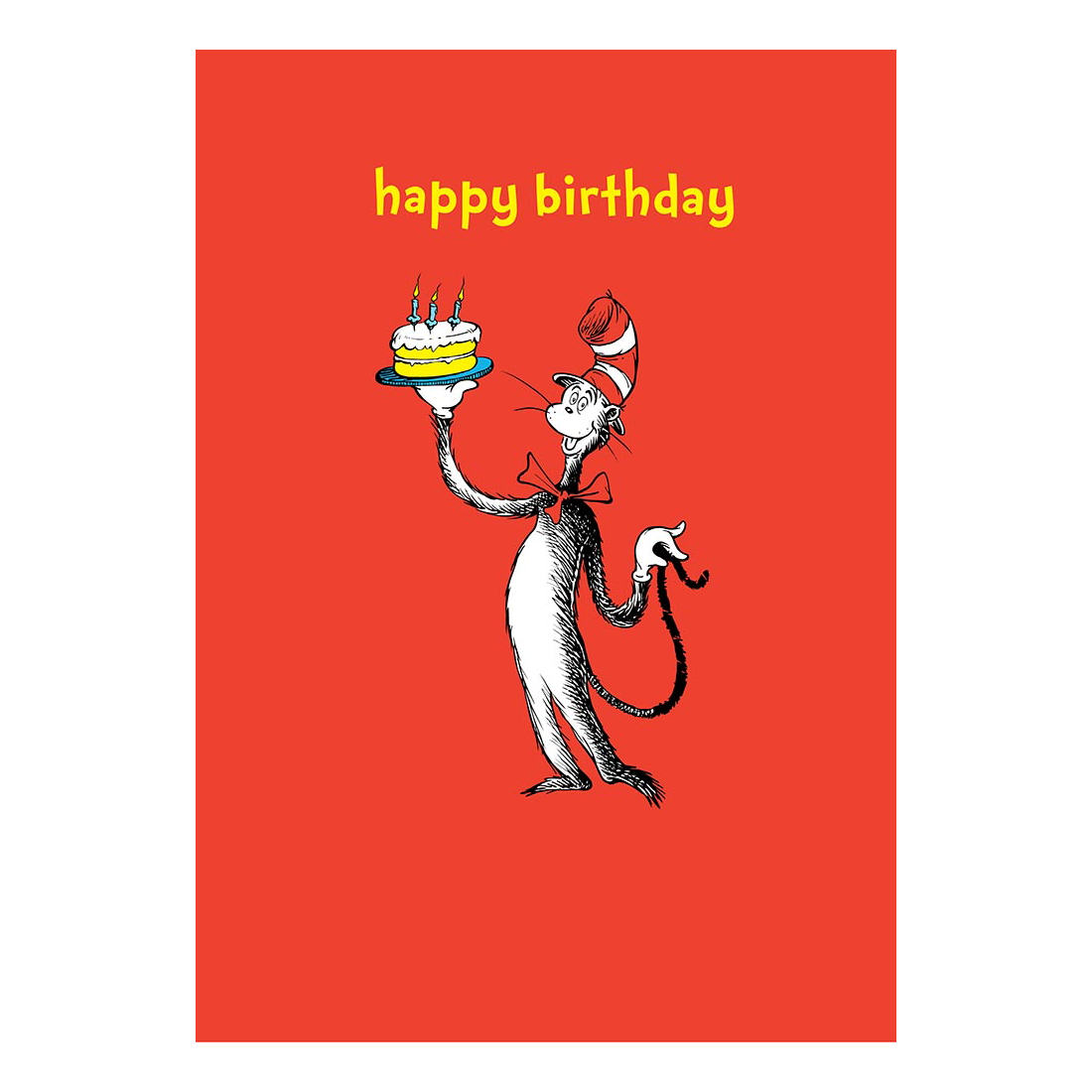 Details About DR SEUSS HAPPY BIRTHDAY GREETING CARD GIFT CAT IN THE HAT RETRO CAKE BOOK KIDS