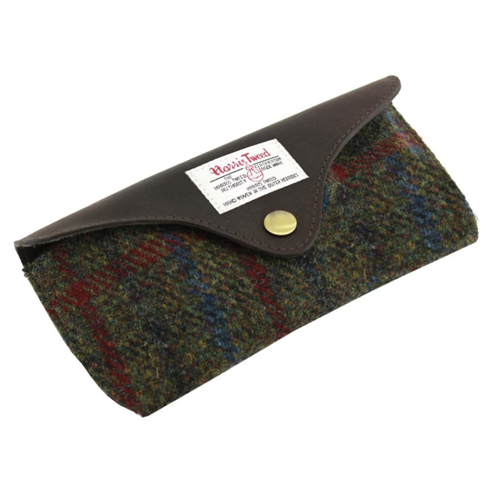 Harris Tweed Green & Red Tartan Glasses Case