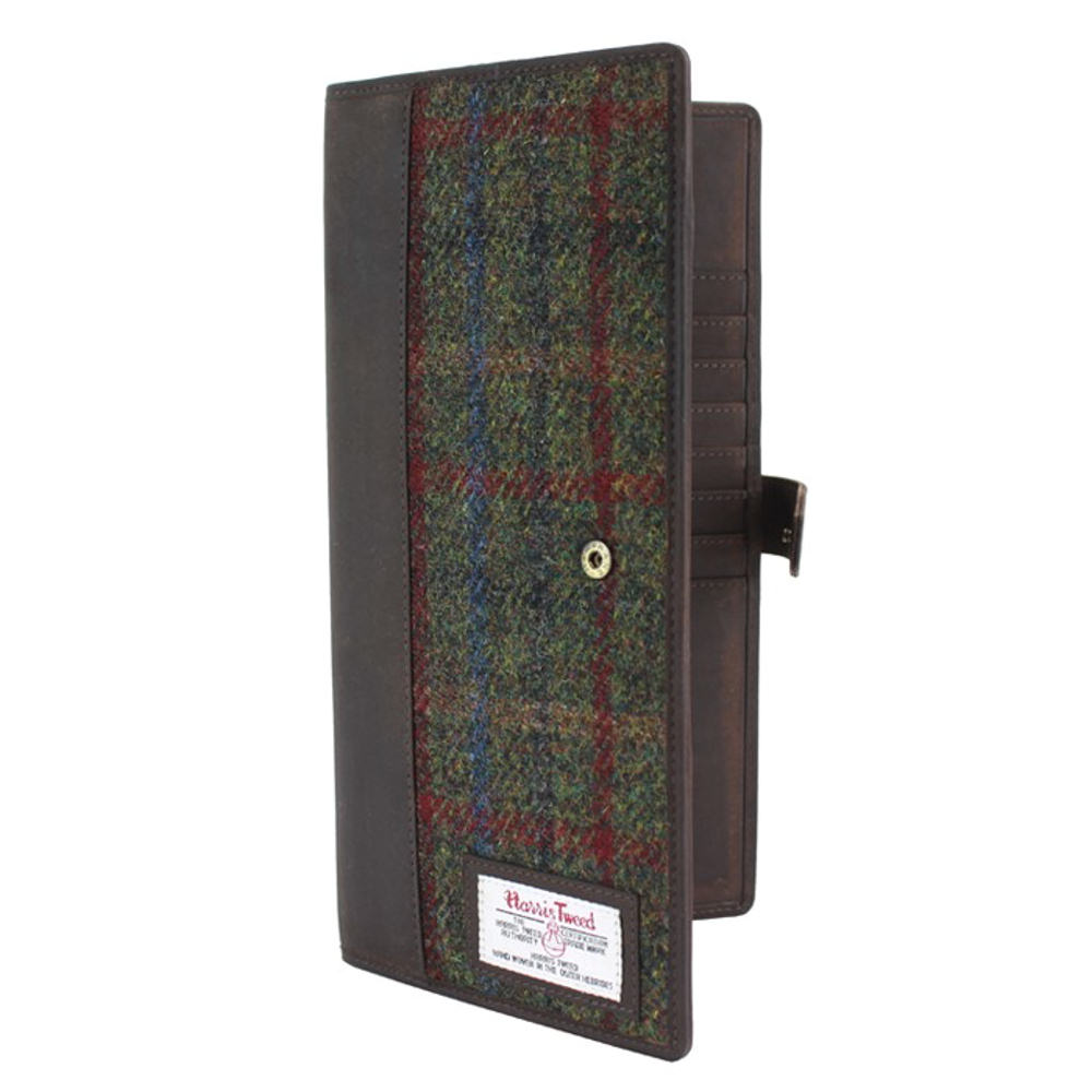Harris Tweed Green & Red Travel Document Holder