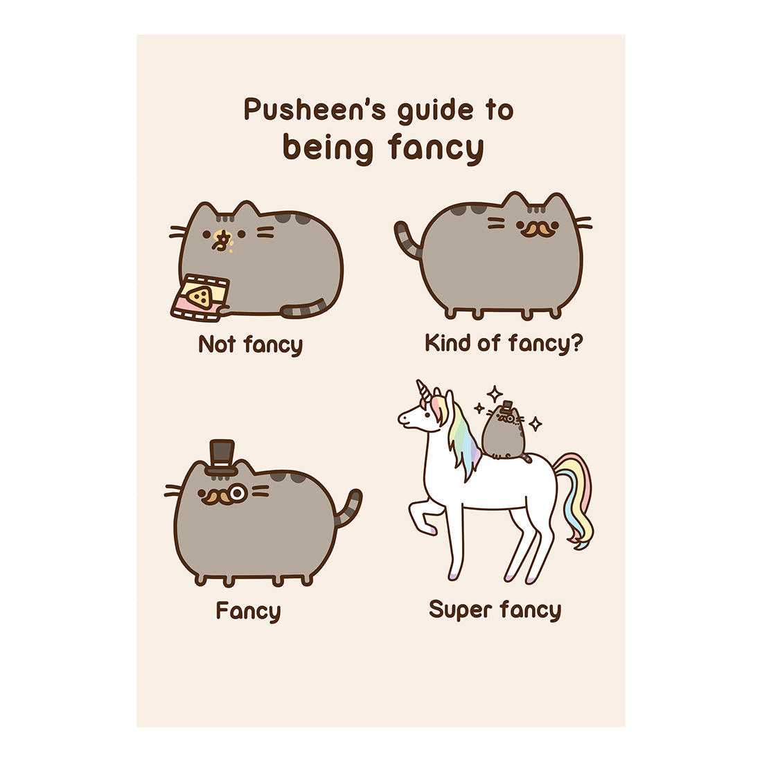 Pusheen Guide To Being Fancy Greeting Card Birthday Gift App Cat