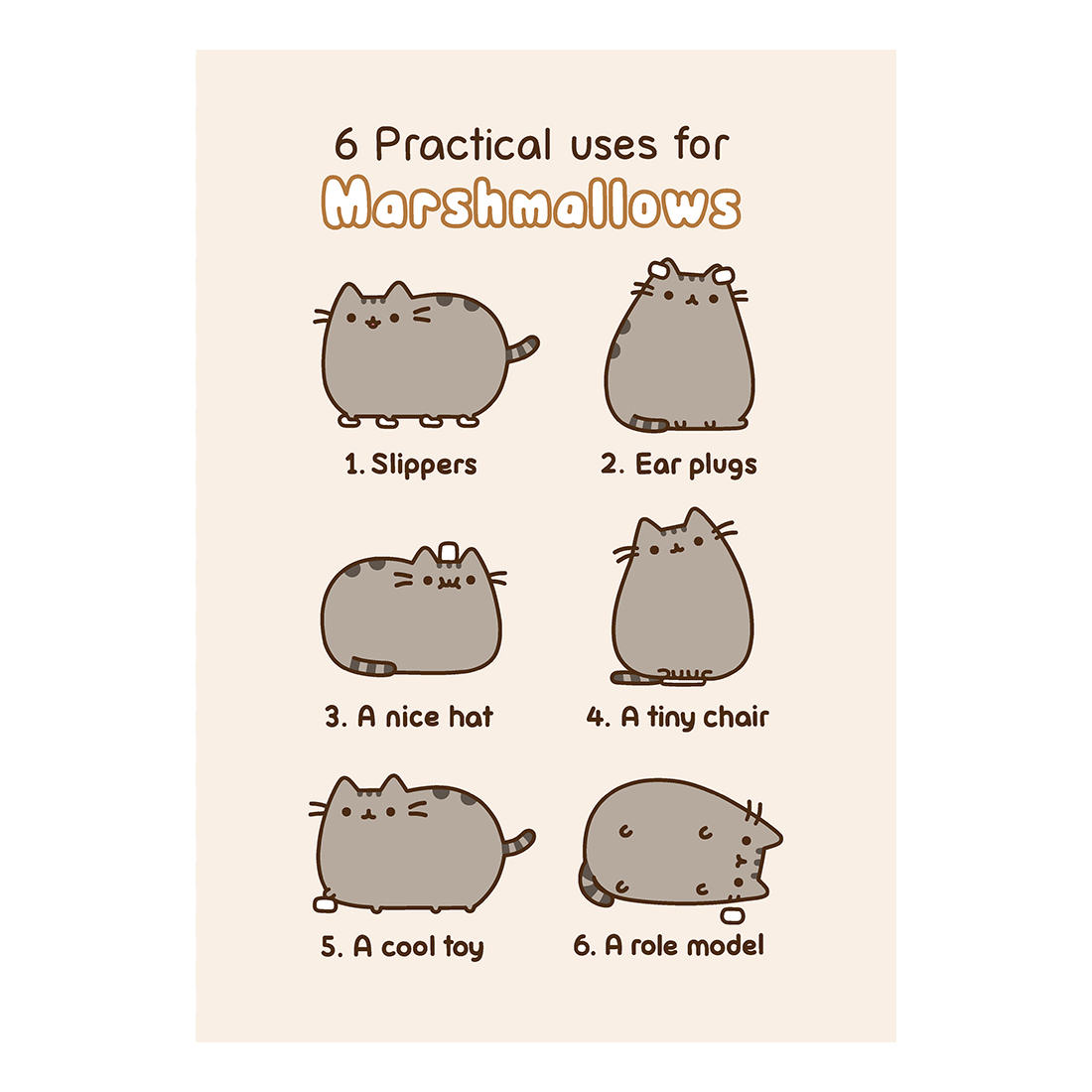 PUSHEEN 6 PRACTICAL USES FOR MARSHMALLOWS GREETING CARD BIRTHDAY GIFT APP CAT