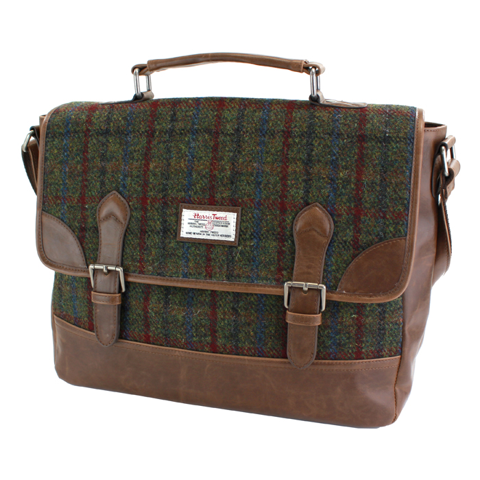 Harris Tweed Green & Red Tartan Briefcase
