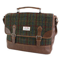 Harris Tweed Green & Red Tartan Briefcase Thumbnail 1