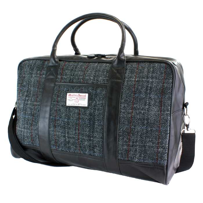 Harris Tweed Black & Grey Tartan Overnight Bag