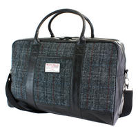 Harris Tweed Black & Grey Tartan Overnight Bag Thumbnail 1