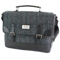 Harris Tweed Black & Grey Tartan Briefcase Thumbnail 1
