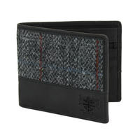 Harris Tweed Black & Grey Tartan Leather Wallet