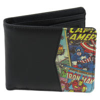 Marvel Classic Comic Strip & Black Faux Leather Wallet