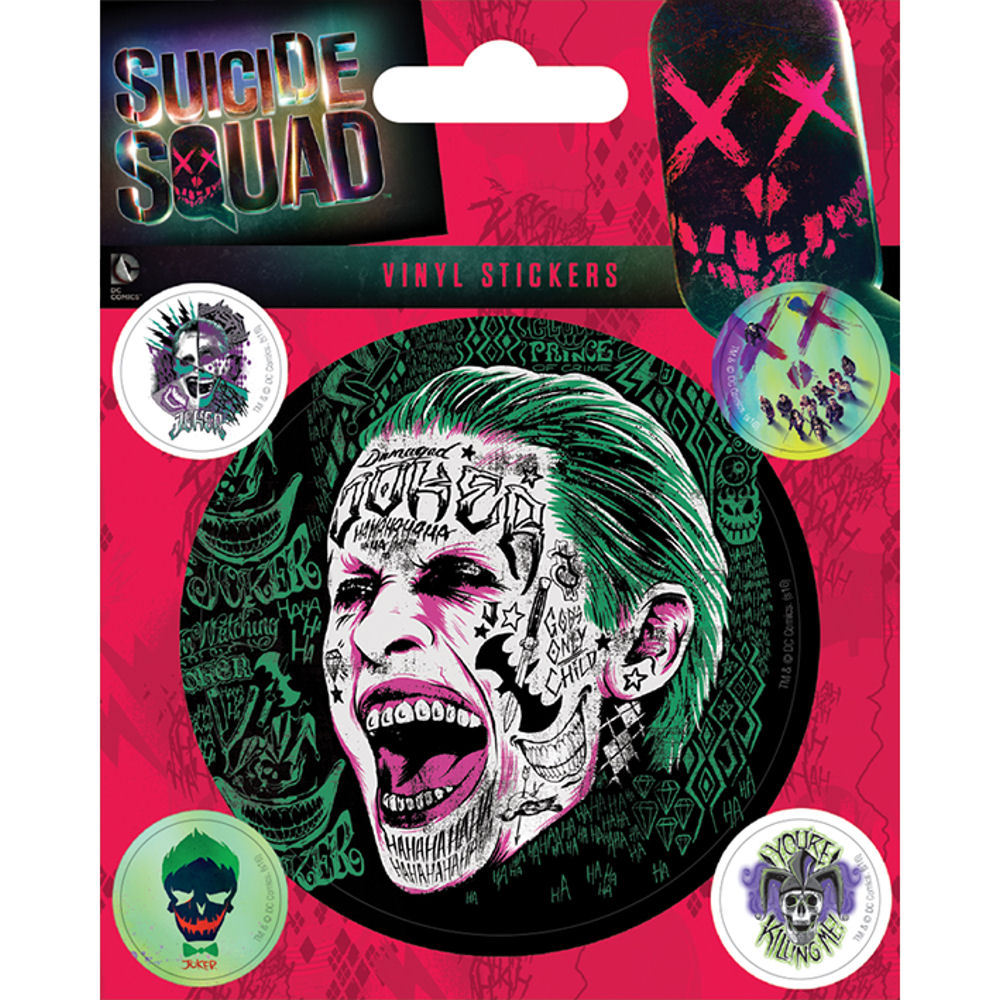 Suicide squad the joker sheet of vinyl stickers gadget bike dc comic film harley