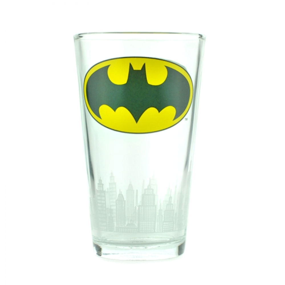 Batman Logo & Gotham Skyline Large Glass
