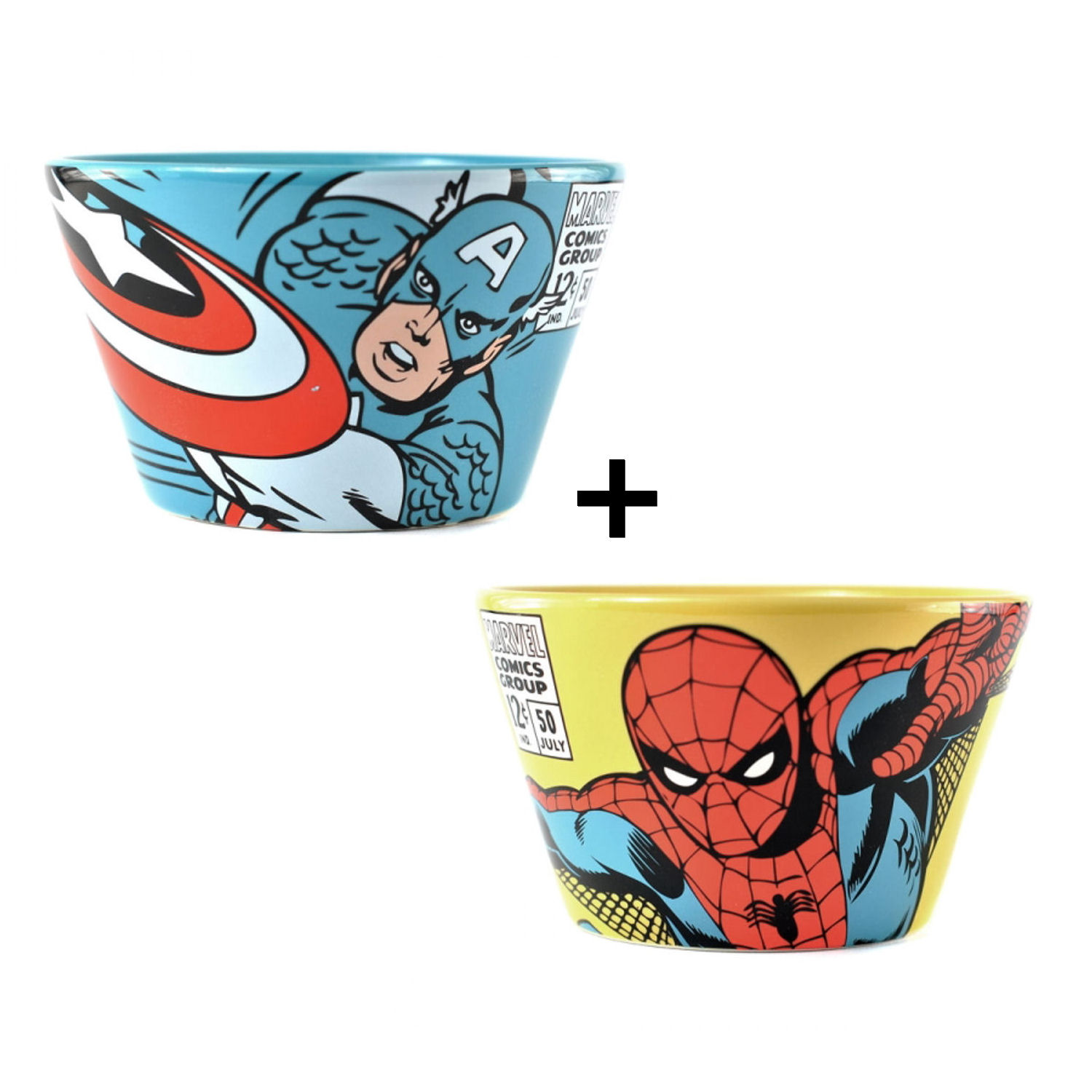 Set of 2 Ceramic Bowls - Captain America & Spider-Man