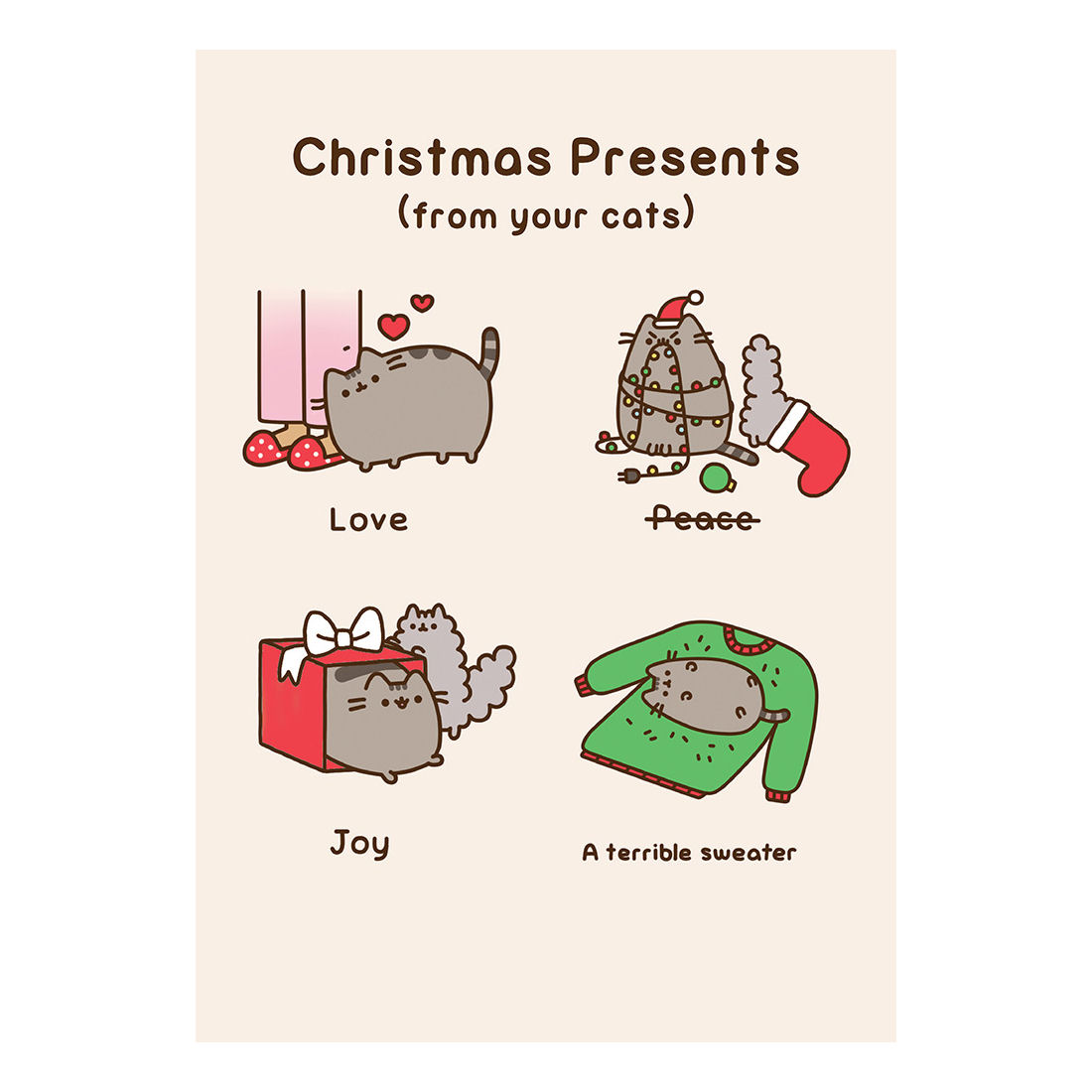 Pusheen Christmas Presents From Your Cat Greeting Card