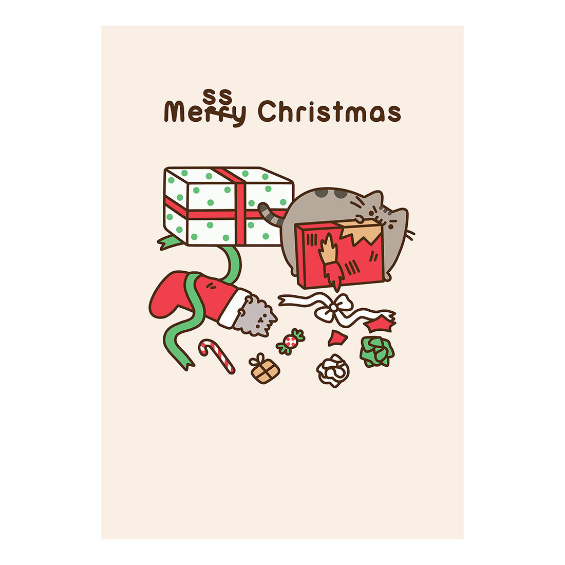 Pusheen Messy Christmas Greeting Card Cards Wrap Gift Bags