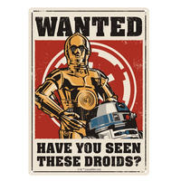 Star Wars Wanted Have You Seen These Droids? A5 Steel Sign