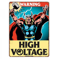 "Thor ""Warning. High Voltage"" A5 Steel Sign"