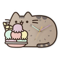 Pusheen Eating Ice Cream Wall Clock