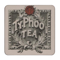 Black & White Typhoo Tea Leaves Logo Coaster