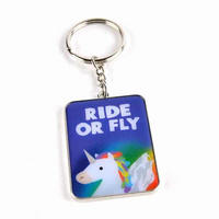 Jolly Awesome Ride or Fly Unicorn Metal Keyring