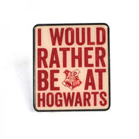 Harry Potter I Would Rather Be At Hogwarts Pin Badge Thumbnail 1