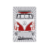 Grey Sunburst Background VW Camper Van 30cm x 20cm Embossed Steel Sign