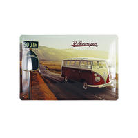South California Highway VW Camper Van 30cm x 20cm Embossed Steel Sign