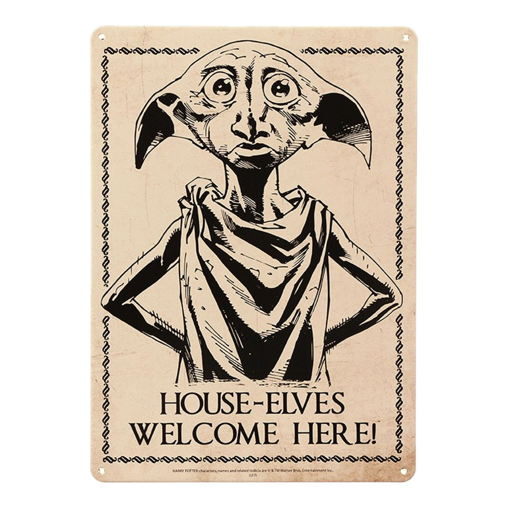 Harry Potter House Elves Welcome Here A5 Steel Sign