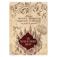 Harry Potter Marauder's Map A5 Steel Sign Thumbnail 1