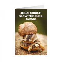 Jesus Christ! Slow The F*** Down! Greeting Card