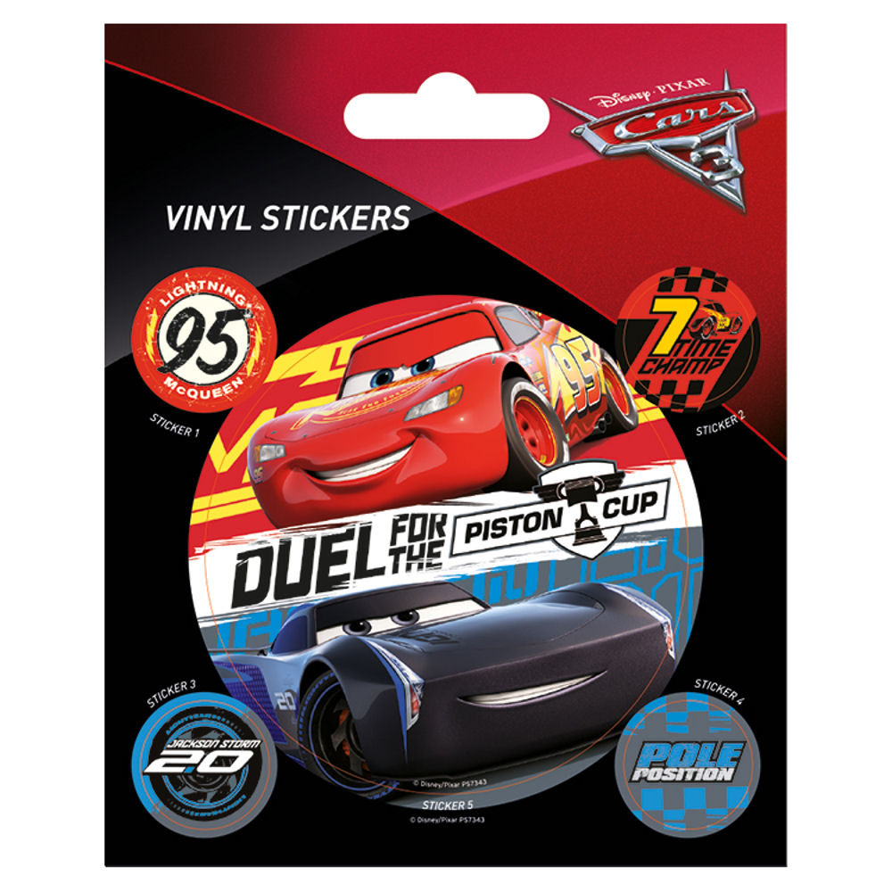 Cars 3 Duel for the Piston Cup Sheet of Vinyl Stickers