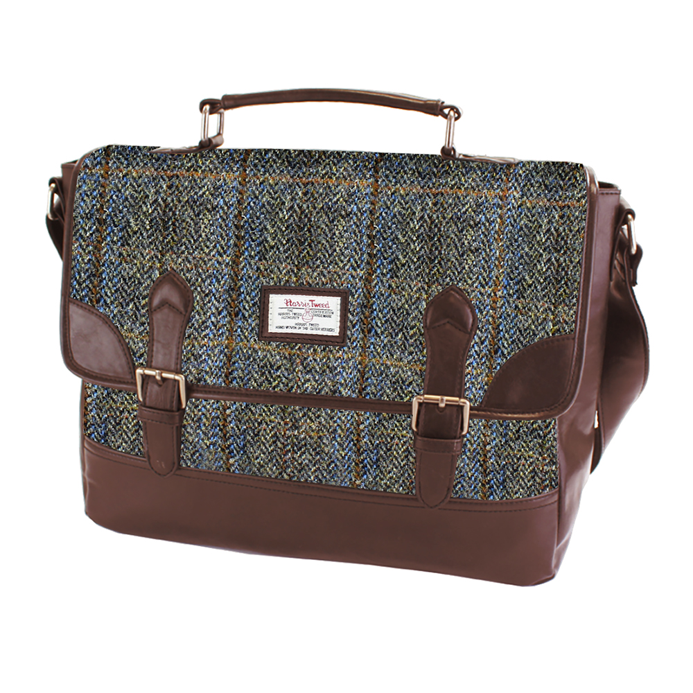 Harris Tweed Beige & Blue Carloway Tartan Briefcase