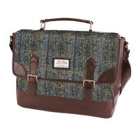 Harris Tweed Beige & Blue Carloway Tartan Briefcase Thumbnail 1