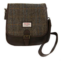 Harris Tweed Beige & Blue Carloway Tartan Saddle Bag Thumbnail 1