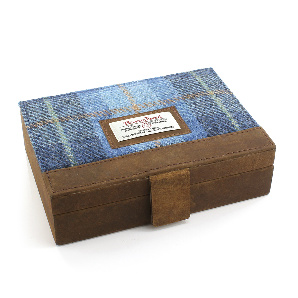 Harris Tweed Pale Blue Castle Bay Tartan Jewellery Box