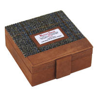 Harris Tweed Beige & Blue Carloway Tartan Trinket Box Thumbnail 1