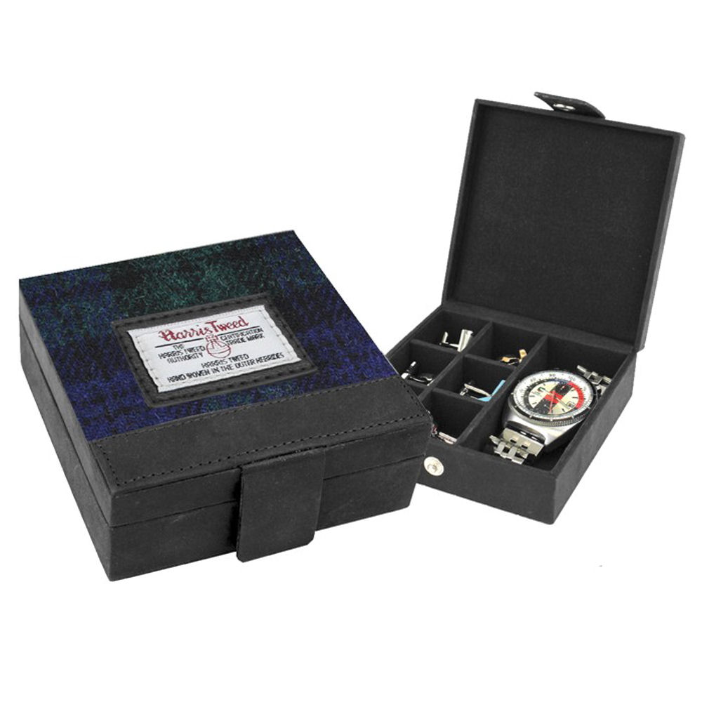 Harris Tweed Black Watch Tartan Trinket Box