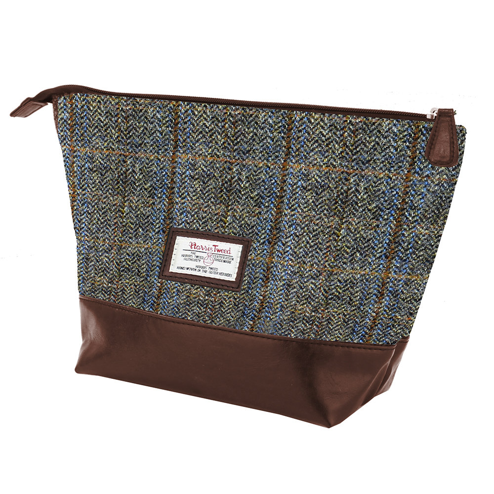 Harris Tweed Beige & Blue Carloway Tartan Wash Bag