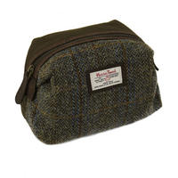 Harris Tweed Beige & Blue Carloway Tartan Makeup Bag Thumbnail 1
