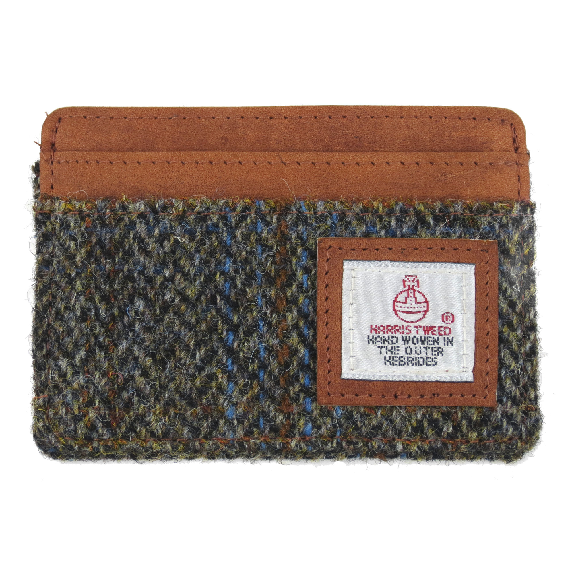 Harris Tweed Beige & Blue Carloway Tartan Card Holder