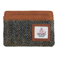 Harris Tweed Beige & Blue Carloway Tartan Card Holder Thumbnail 1