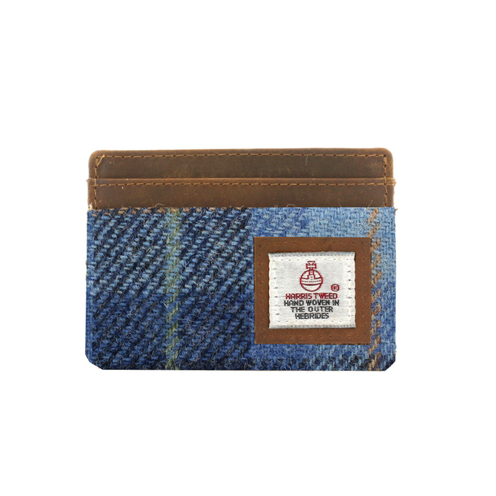 Harris Tweed Pale Blue Castle Bay Tartan Card Holder