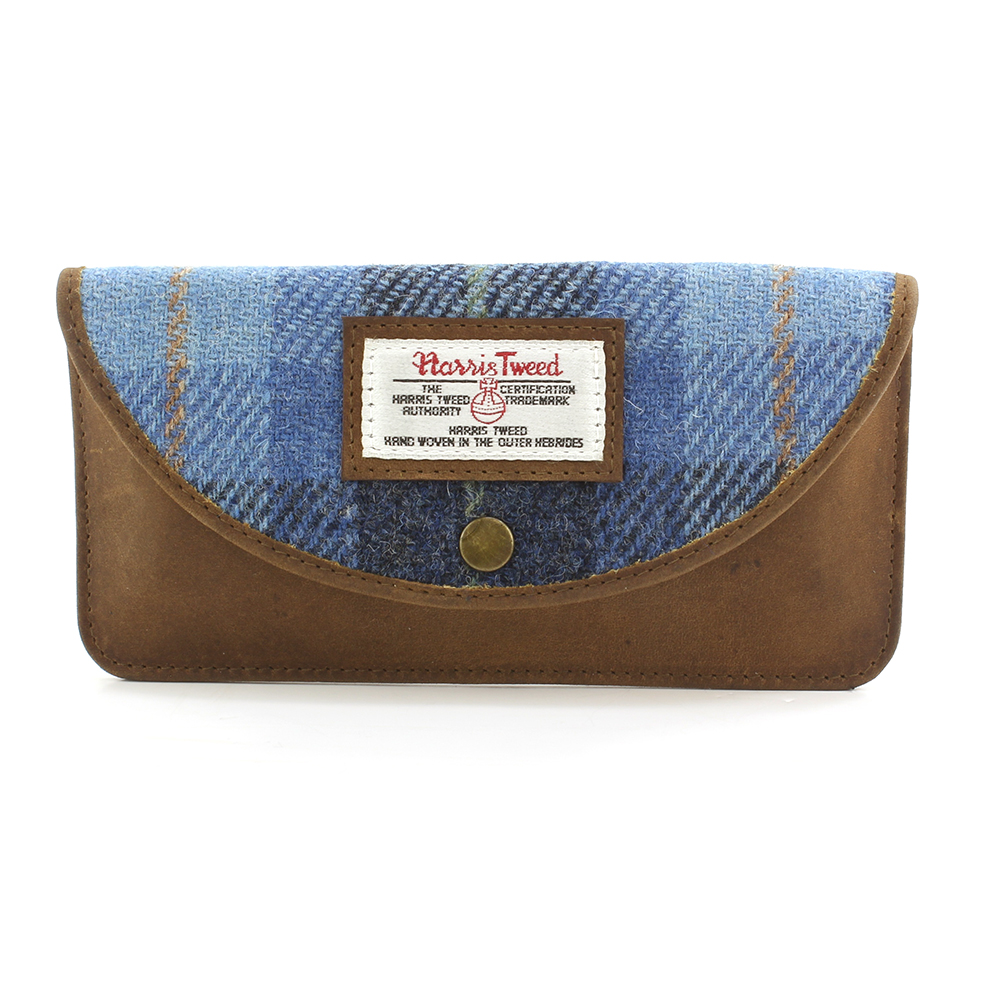 Harris Tweed Pale Blue Castle Bay Glasses Case