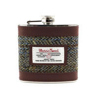 Harris Tweed Beige & Blue Carloway Tartan Hip Flask Thumbnail 1
