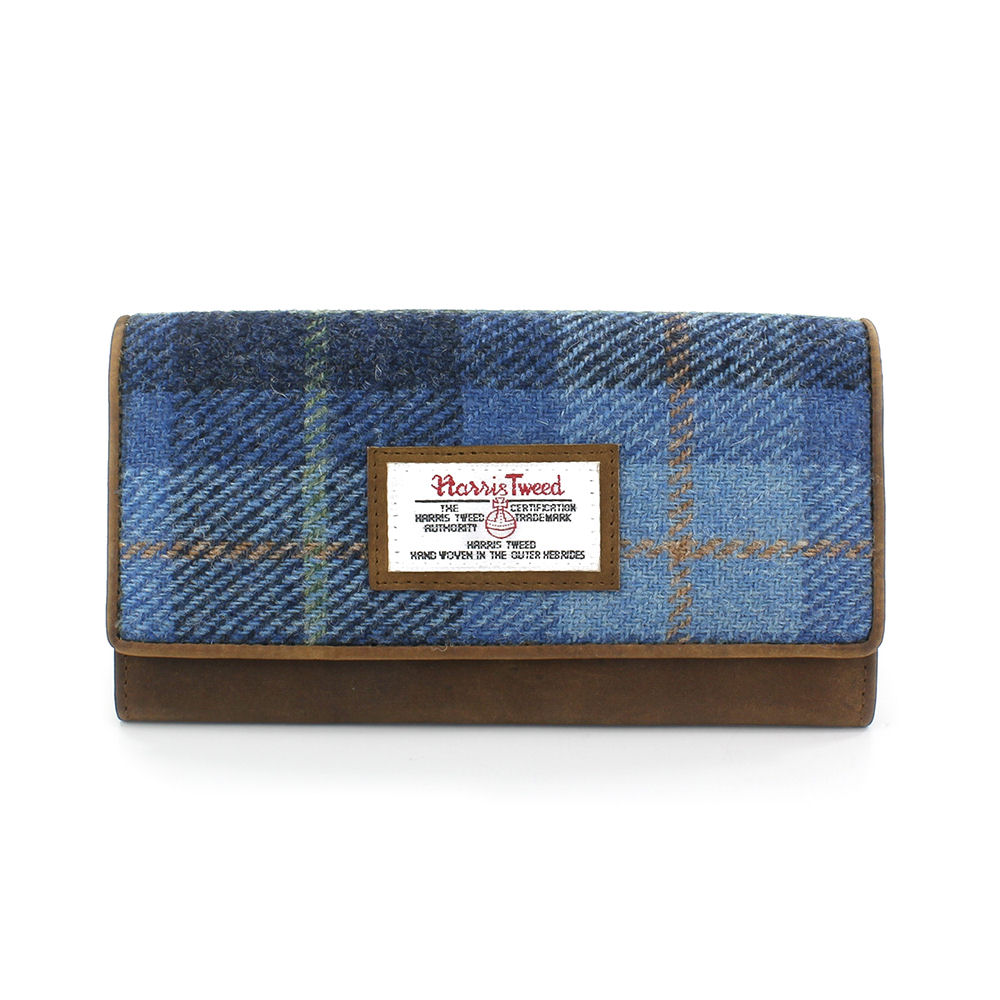 Large Harris Tweed Pale Blue Castle Bay Tartan Purse