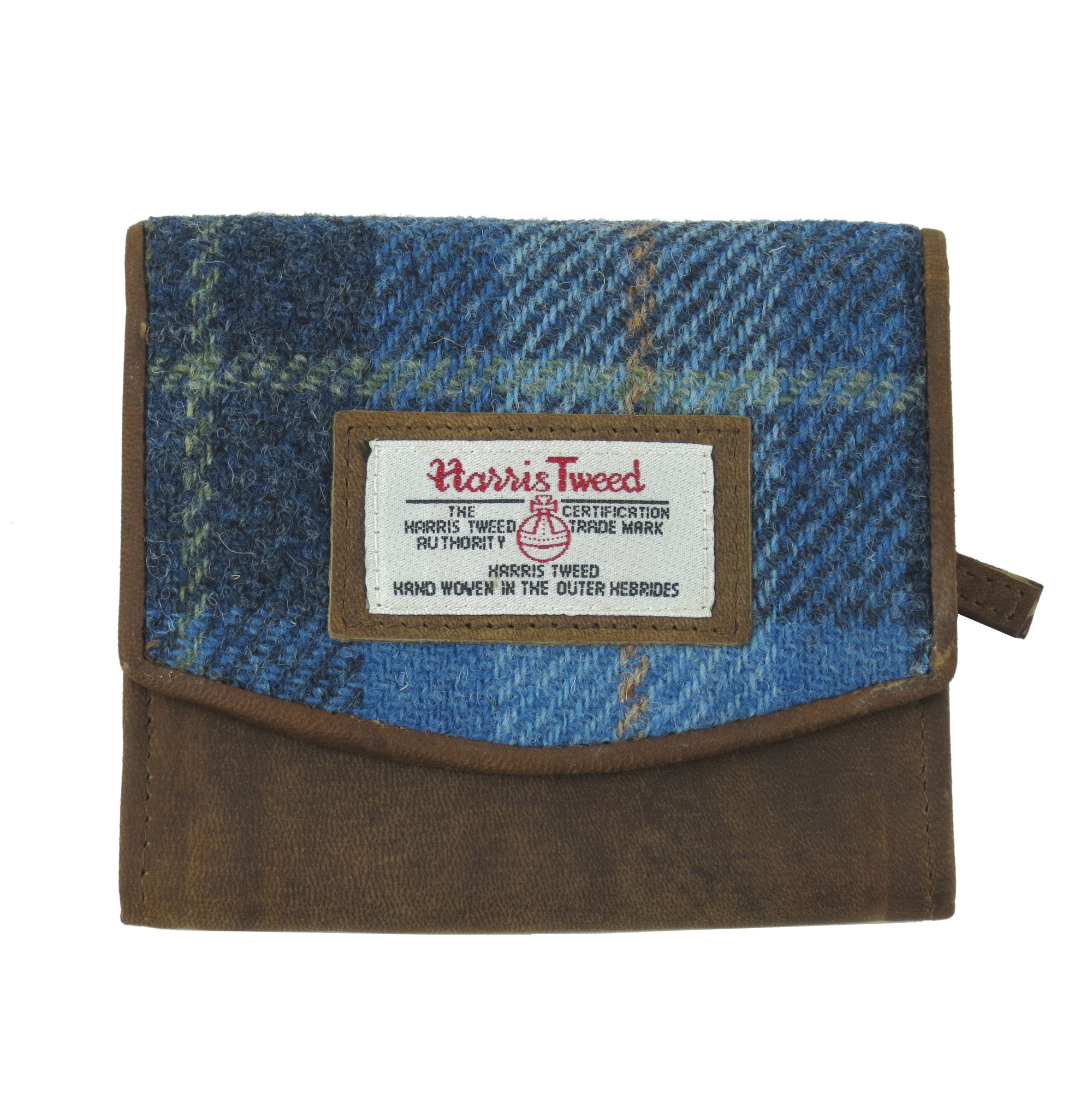 Small Harris Tweed Pale Blue Castle Bay Tartan Purse